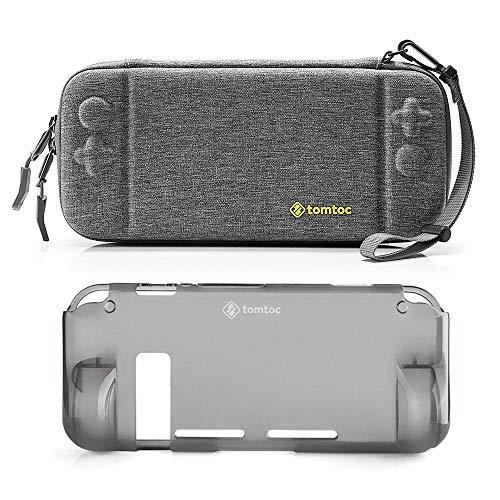 tomtoc Schutzhülle Tasche für Nintendo Switch Konsole und Joy-Con Strap, [Combo Kit] Hartschale mit Grip Case Back Cover, Tragetasche Aufbewahrungstasche mit 10 Spielkartenfächer*