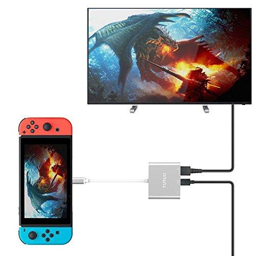 TUTUO USB Type C auf 1080P HDMI Adapter für Switch, USB C PD Ladeanschluss und USB-A 3.0 Hub HDMI Konverter Kabel Kompatibel mit MacBook Air/iPad Pro/Huawei Mate 20/Samsung Galaxy S21